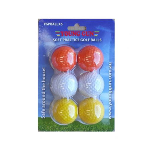 Kids PVC Golf Ball Pack of 6 - Mix Colours