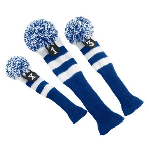 Pom Pom Head Covers Blu&wh